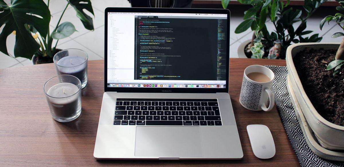 macbook coding in office